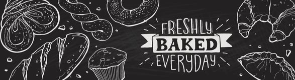 Fresh bread poster royalty free illustration