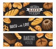 Fresh bread poster. Freshly Baked everyday lettering. Horizontal poster composition from hand drawn bread. Vector illustration for bakery shops on blackboard royalty free illustration