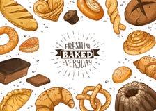 Fresh Bread Poster Vector Ilustration stock illustration