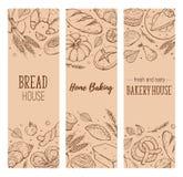 Fresh bread poster. Vertical poster composition from hand drawn bread. Vector illustration for bakery shops design. Fresh bread banner concept stock illustration