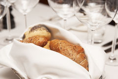 Fresh bread on restaurant table Royalty Free Stock Image