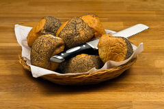 Fresh Bread Rolls In Basket Stock Photography
