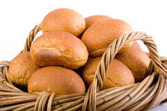 Fresh Bread Rolls In Basket Stock Images