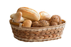 Fresh bread rolls in a basket Royalty Free Stock Images
