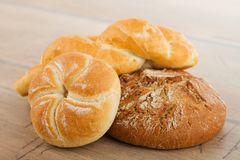 Fresh bread and rolls Stock Photos