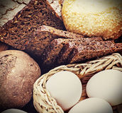 Fresh bread and rolls with ears of wheat Royalty Free Stock Image
