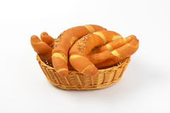 Fresh bread rolls. Scuttle of fresh bread rolls on white background Stock Photos