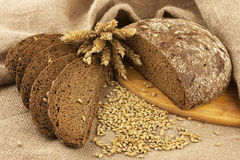 Fresh bread and rye grain Royalty Free Stock Photography