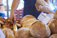 Fresh Bread For Sale On Market Stall Stock Photo