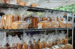 Fresh Bread for sale in the outdoor market Royalty Free Stock Images