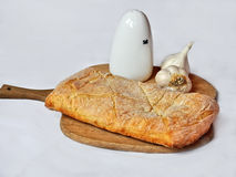 Fresh bread,salt and garlic Stock Image