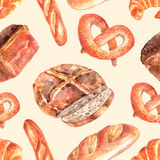 Fresh bread seamless decorative pattern Stock Images