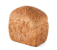Fresh bread with sesame seeds isolated. On white royalty free stock photo