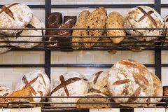 Fresh bread on the shelves.  Royalty Free Stock Photography