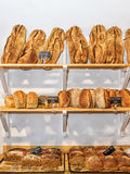 Fresh bread on the shelves Royalty Free Stock Photography