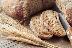 Fresh bread slice and rye ears. Stock Photo