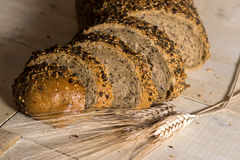 Fresh bread slice with sunflower seeds Stock Images