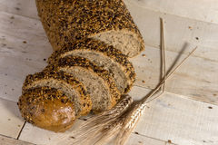 Fresh bread slice with sunflower seeds Royalty Free Stock Photography