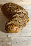 Fresh bread slice with sunflower seeds Royalty Free Stock Photos