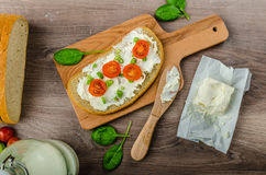 Free Fresh Bread Smeared With Cream Cheese Stock Photography - 48477972