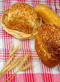 Fresh bread on the tablecloth Royalty Free Stock Photography