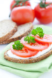 Fresh bread with tomato Royalty Free Stock Images