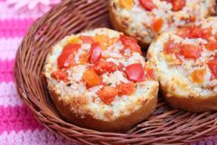 Fresh bread with tomatoes Stock Photo