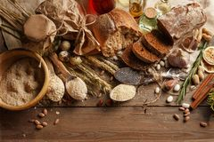 Fresh bread on the village table. Ingredients royalty free stock images