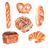 Fresh bread watercolor icons set Stock Photos