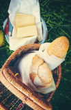 Fresh Bread in a Wattled Basket Royalty Free Stock Photography