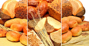 Fresh bread, wheat grains and wheat ears. Isolated on white. collage royalty free stock photography