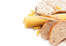 Fresh bread with wheat spikes, oat flakes and maca Royalty Free Stock Images