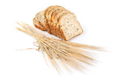Fresh bread and wheat on white. Background stock photo