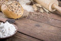 fresh bread and wheat Stock Photos