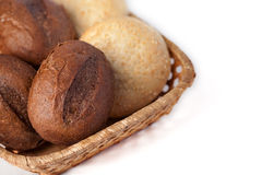 Fresh bread on a white background. Buns in a basket on a white background Stock Image