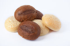 Fresh bread on a white background. Buns in a basket on a white background Royalty Free Stock Photography