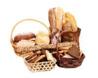 Fresh bread in wicker baskets. Royalty Free Stock Image