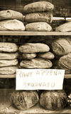 Fresh Bread in a window display in Italy Royalty Free Stock Photography