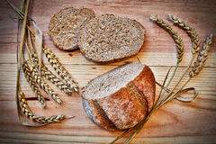 Fresh bread on a wooden table Royalty Free Stock Image