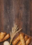 Fresh bread background Stock Photo