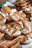 Fresh breads. Freshly baked bread at the farmer's market (no brandlabels are shown, just the type of bread Royalty Free Stock Photography