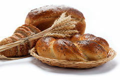 Fresh breads for a variety isolated. Fresh breads for a variety isolated on white Stock Photography