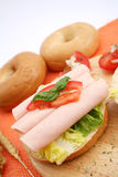 Fresh breakfast. Some fresh breakfast of a bagel with sausage Royalty Free Stock Photography