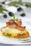 Fresh breakfast. With smoked pork in restaurant stock image