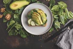 Fresh breakfast avocado sandwich. Green salad and seeds, healthy. Fresh breakfast avocado sandwich. Green salad and sunflower seeds, healthy vegan food concept Royalty Free Stock Photos