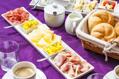 Fresh Breakfast or brunch with ham, eggs, bread, yogurt, fruits Royalty Free Stock Photography