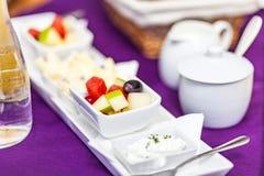 Fresh Breakfast or brunch with ham, eggs, bread, yogurt, fruits Stock Image