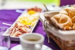Fresh Breakfast or brunch with ham, eggs, bread, yogurt, fruits Stock Image