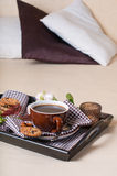 Fresh breakfast, coffee in bed Royalty Free Stock Photography