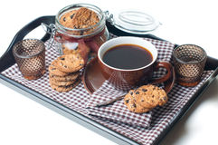 Fresh breakfast, coffee and cookies Royalty Free Stock Photos